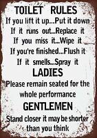 Toilet rules   Retro Metal Plaque/Sign, Pub, Bar, Man Cave,