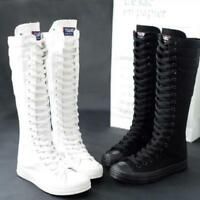 Womens Canvas Knee High Sneakers Zip Boots Girls Lace Up Punk Gothic Shoes