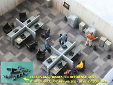 HO Scale, Desks, Chairs, Cubicle,Office Scene, 44 pc, 3D print, UNPAINTED, 1:87.