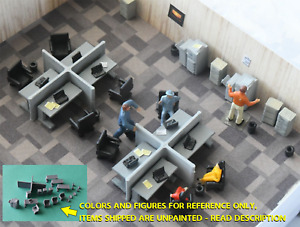 HO Scale, Desks, Chairs, Cubicle,Office Scene, 44 pc, 3D print, UNPAINTED, 1:87.