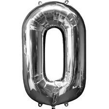 """NUMERO 0 ARGENTO GIGANTE 34 """" supershape palloncini in alluminio elio Compleanno"""
