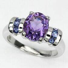 Sterling silver 925 Oval Deep Purple Amethyst & Tanzanite Ring Size P1/2 (US 8)