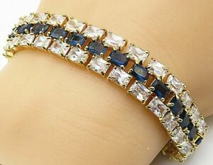 925 Silver - Kyanite & Cubic Zirconia Gold Plated 3 Row Chain Bracelet - B4531