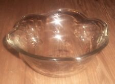 BEAUTIFUL HEAVY CLEAR GLASS FLOWER DESIGN DECORATIVE SERVING CANDY DISH BOWL ~LN