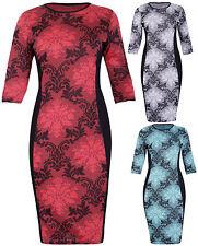 Womens Floral Print 3/4 Sleeve Ladies Contrast Fit Bodycon Midi Dress Plus Size