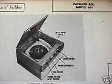 PACKARD BELL 661 PHONOGRAPH - RADIO COMBO PHOTOFACT