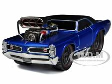 "1966-1967 PONTIAC GTO BLUE 1/24 ""MUSCLE MACHINES"" BY MAISTO 32234"