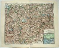 Original 1909 Map of Tyrol Austria & Italy by Meyers - Tirol Tyrolia Antique