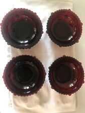 Avon Ruby Red 1876 Cape Cod Collection Set 4 Dessert bowls -