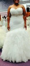 Mori Lee 5369 Ivory Chiffon Mermaid Wedding Gown Size16, Fits Actual Size 12-14