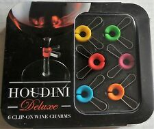 HOUDINI DELUXE CLIP-ON WINE CHARMS - 6 Colored Clip On Charms