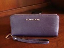 MICHAEL KORS MK Jet Set Travel Saffiano Leather Continental Wallet PURPLE Silver