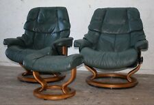 "PAIR EKORNES STRESSLESS ""VEGAS"" (LARGE) LEATHER RECLINING CHAIRS & FOOTSTOOL"