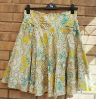 ODILLE BEIGE YELLOW DAISY FLORAL GREEN BELTED BOW SIDES A LINE FLIPPY SKIRT 10 S