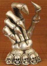 limited edition Big Rare Copper plate-Silver Carved Devil Hand Statue home deco