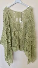 New Lagenlook Quirky Cotton CROCHET Poncho Oversized Layering Asymmetric Top GRN