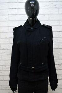 G-STAR Giubbotto Cappotto in Lana Nero Donna Taglia M Giacca Jacket Women Black