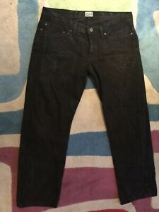 Mens Naked Famous Black Selvedge Weird Guy 016163 Cotton Straight Jeans 34/29
