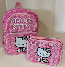 HELLO KITTY BACKPACK & LUNCH BOX SET! PINK LOGO LETTER CHECKS SILVER GLITTER BOW