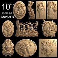 3d stl model cnc router artcam aspire 10 animals panno collection basrelief