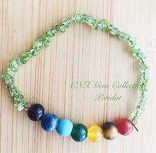 Natural Gem Crystal Peridot Chip Stone Stretchy Chakra Bracelet 10th Anniversary