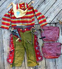 Complete RED RANGER Cowboy Outfit Size 4 w/Rope Chaps Neckerchief Gun WYANDOTTE