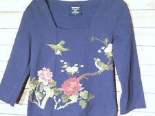 Its Us Women's Blue Oriental Birds Crewneck Sweatshirt Made in Canada L