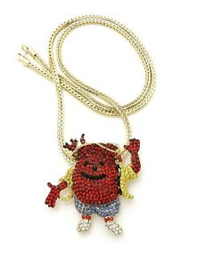 """NEW ICE BLING KOOL AID PENDANT WITH 4mm 24"""" FRANCO CHAIN"""