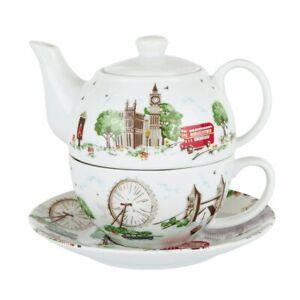 ❀ڿڰۣ❀ CATH KIDSTON Fine Bone China LONDON TOWN SCENES Design TEA FOR ONE SET ❀
