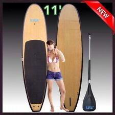Bamboo Paddle Board Stand Up Sup Surf 11 Foot Fins Cover Light Weight Fiberglass