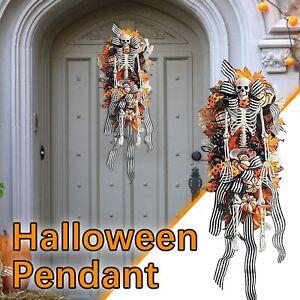 Halloween Front Door Hanging Skeleton Pumpkin Fall Wreath Decoration Garland New