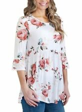 3/4 Sleeve Floral Tops & Shirts for Women with Ruffle