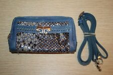 BRIGHTON Renault Blue Patent Leather Python Convertible Wallet Crossbody EUC