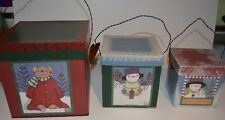 Set of 3 Crazy Mountain Nesting Boxes, Christmas theme, By Jan Shade Beach