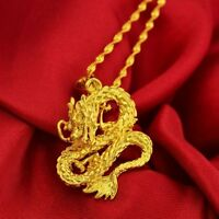 "18k Yellow Gold Dragon Pendant With 30"" Snake Chain Necklace +GiftPkg"