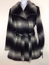Womans Apt 9 Fuzzy Winter Coat Lined Belted Black/Gray Wide Stripe Sz M