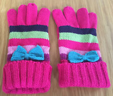 Girls Disney Multi Coloured Striped Gloves With Bows 3-6 Years