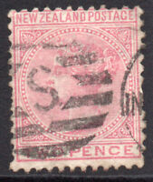 New Zealand Two Penny Q V Rose Stamp c1874-78 Used (8236)