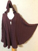 Soft Surroundings S/M Hooded Cape Poncho Sweater PURPLE Cable Knit Pullover