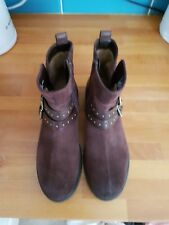 SIZE 6 CLARKS BROWN SUEDE AND LEATHER ANKLE BOOTS WORN ONCE SEE PICTURES