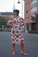 Damen Kleid rote Rosen 60er Rockabilly True VINTAGE 60s woman flower dress roses