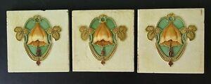 Three Antique Art Nouveau flower tiles circa 1900