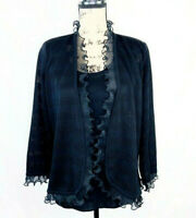EXCLUSIVELY MISOOK Evening Jacket Black Open Front Ruffle Cardigan w/ Shell XS