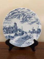 "DELFT BLUE 9"" Display Plate Boats, Windmills, Winter Scene"