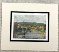 1905 Antique Print Molde Norway Norwegian Town Landscape Painting