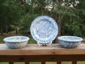 Friendship Pottery BLUE Spongeware SALAD PLATE & 2 CEREAL BOWLS Roseville EC NR