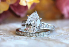 3ct Pear Cut Diamond Solitaire Bridal Set Engagement Ring In 14k White Gold Over