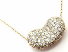 Authentic! TIFFANY & CO Elsa Peretti 18k Yellow Gold Diamond Large Bean Necklace