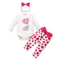 Newborn Kid Baby Girl 3Pcs Clothes Jumpsuit Romper Bodysuit Pants Outfit US