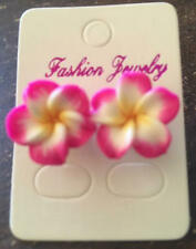 NEW Hawaiian Plumeria Dark Pink Flower Fimo Polymer Clay Pierced Earrings